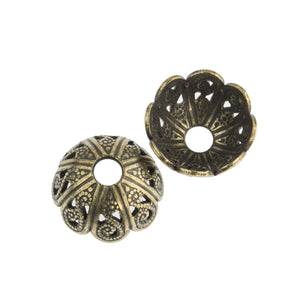 B9-0495 Solid brass filigree beadcap from antique mold. 5x10mm Pkg of 4
