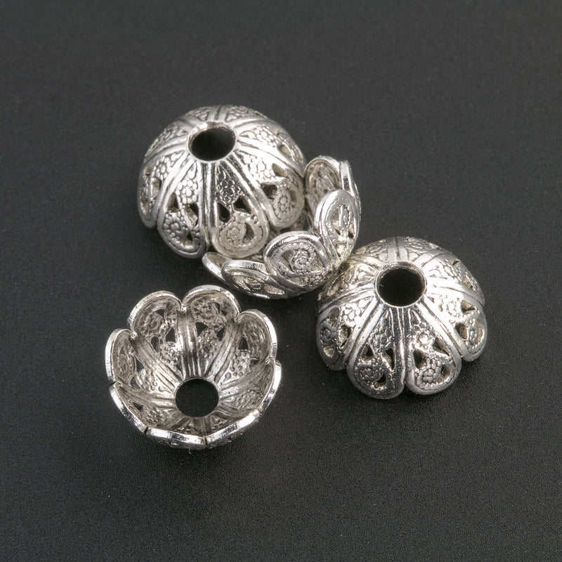 Sterling silver plated brass filigree bead cap from antique mold. 5x10mm Pkg of 4. B9-0495s