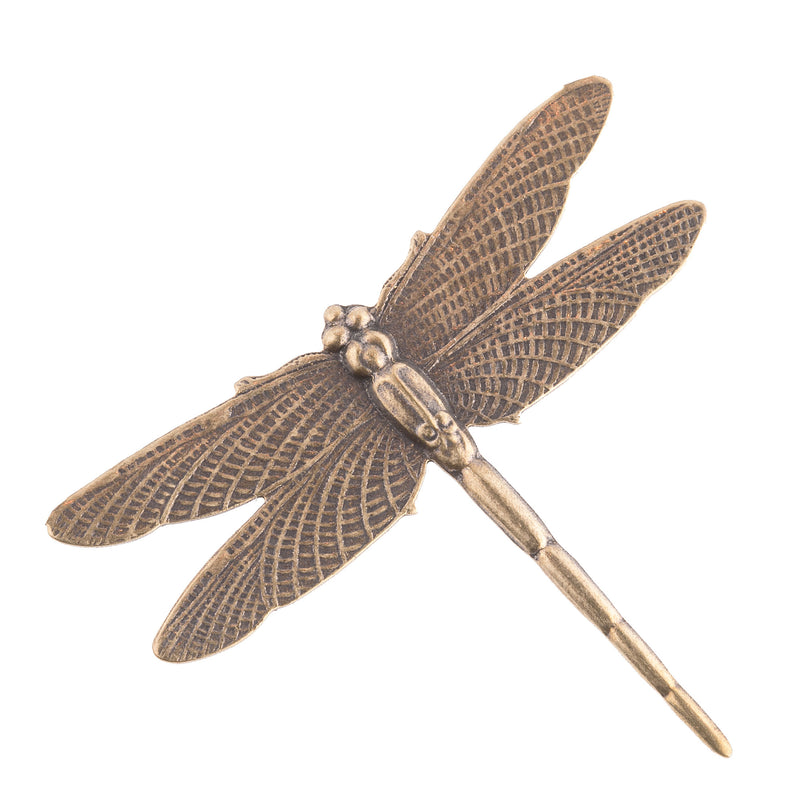 Oxidized brass dragonfly stamping. Wrap around a stone or affix to a setting. 41mm. Pkg.1.b9-0522
