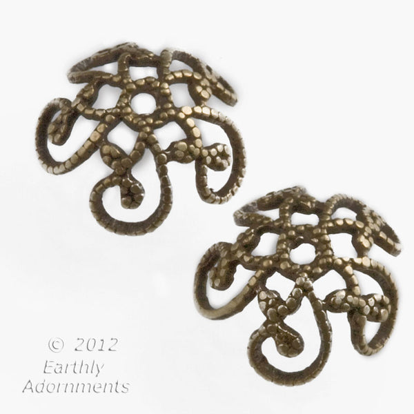 Oxidized brass filigree bead cap. 8-10 mm. Pkg of 8. b9-0523(e)