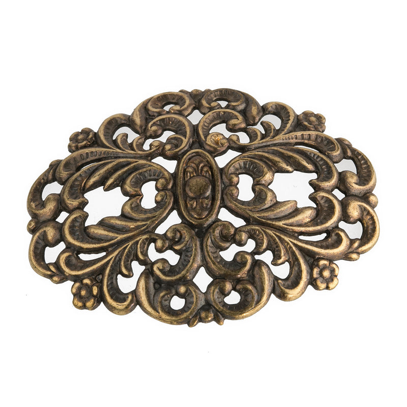 b9-0526 Oxidized brass stamped ornamental disk. 43x34mm Pkg. of 1