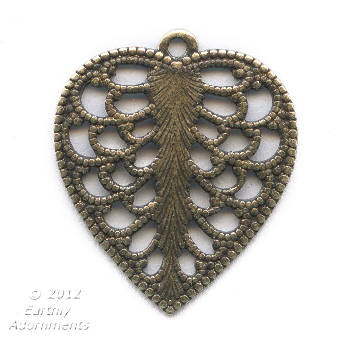 Brass filigree leaf pendant. 15x18mm Pkg. of 4. b9-0529(e)