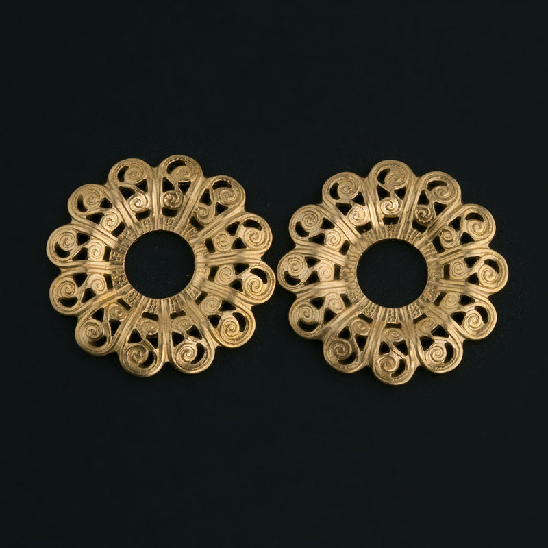 Raw brass filigree rosette stamping. 22mm 2 pc. b9-0537(e)