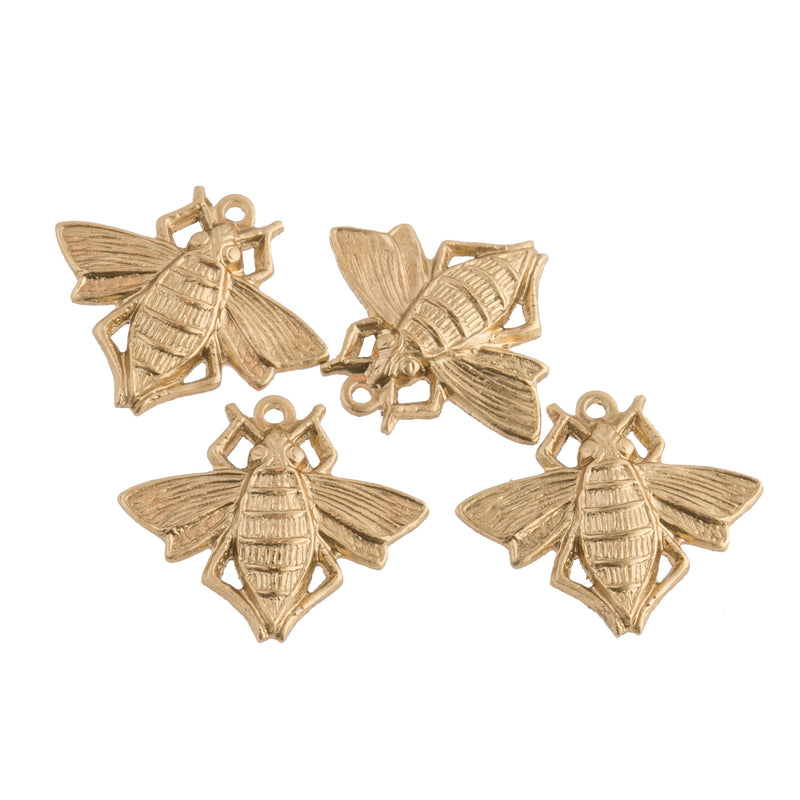 Yellow raw brass honey bee charm. 18x15mm Pkg of 4. b9-0547