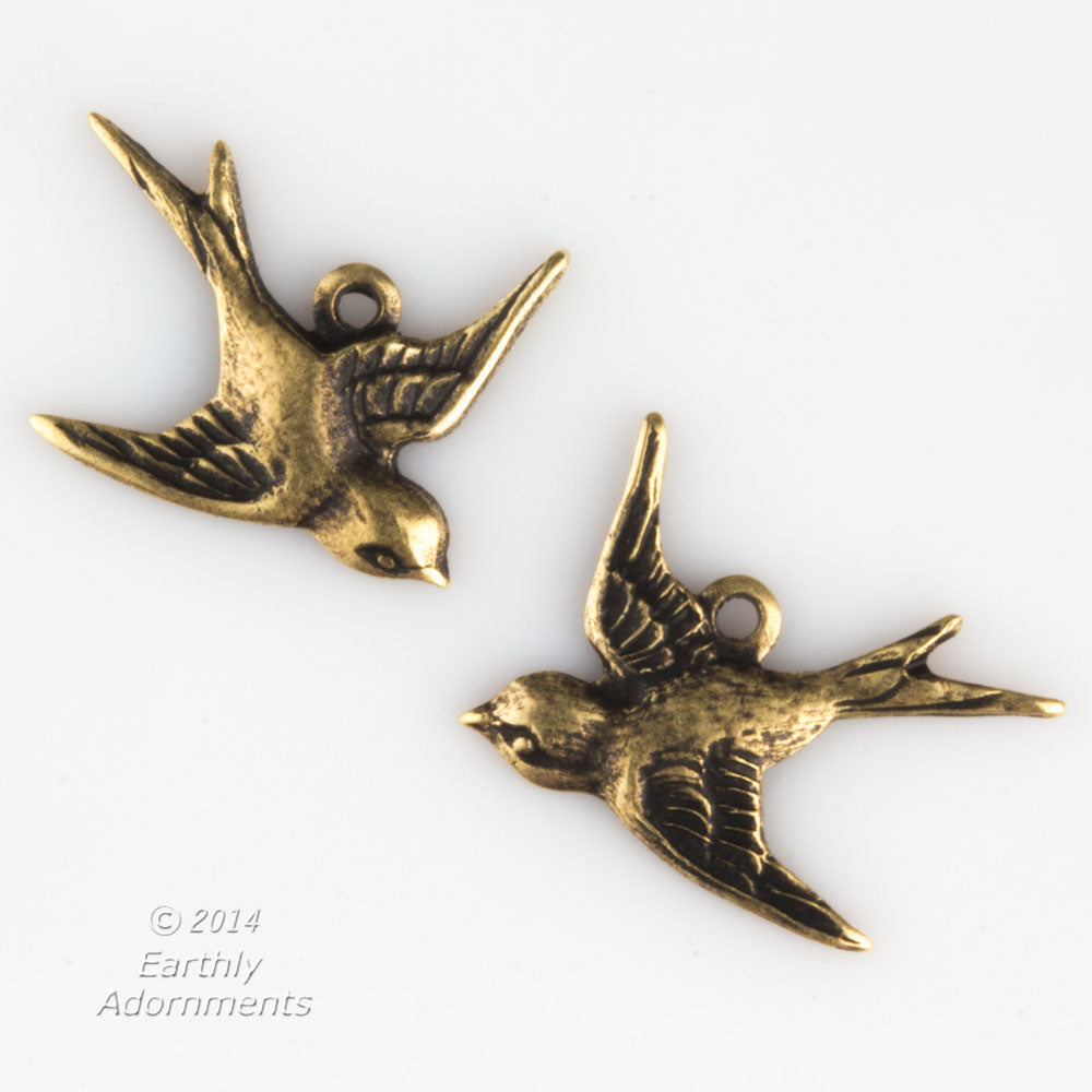 Oxidized brass bird 1 ring charm, 17x15mm, left & right. 1 pair. b9-0549-1(e)