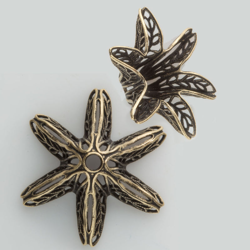 Oxidized brass filigree florette fluted bead cap. 12x26mm. Pkg of 2. b9-0562(e)