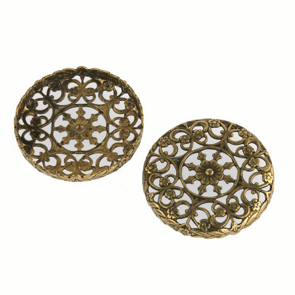 Brass filigree setting for a 30mm diameter cabachon. Pkg. of 1. b9-0574(e)