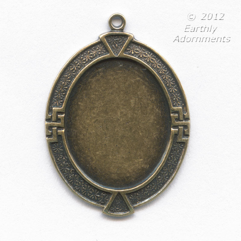 Oxidized brass pendant setting for 19x14mm cabochon, solid back. Sold individually. b9-0593-3