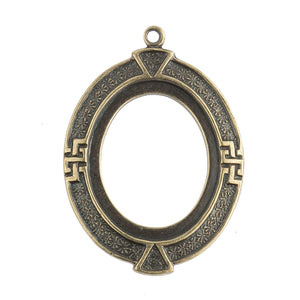 Oxidized brass oval frame pendant setting for 19x14mm cabochon. Sold individually. b9-0593-1