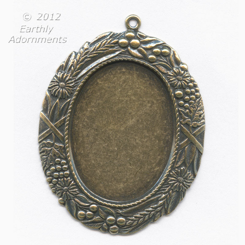 Oxidized brass solid back oval frame pendant setting for cabochon 4 oxidized brass solid back oval frame pendant setting for cabochon 4 sizes b9 aloadofball Gallery