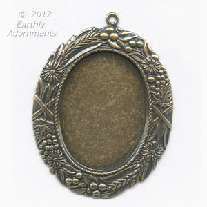 Oxidized brass solid back oval frame pendant setting for cabochon. 4 sizes. b9-0596