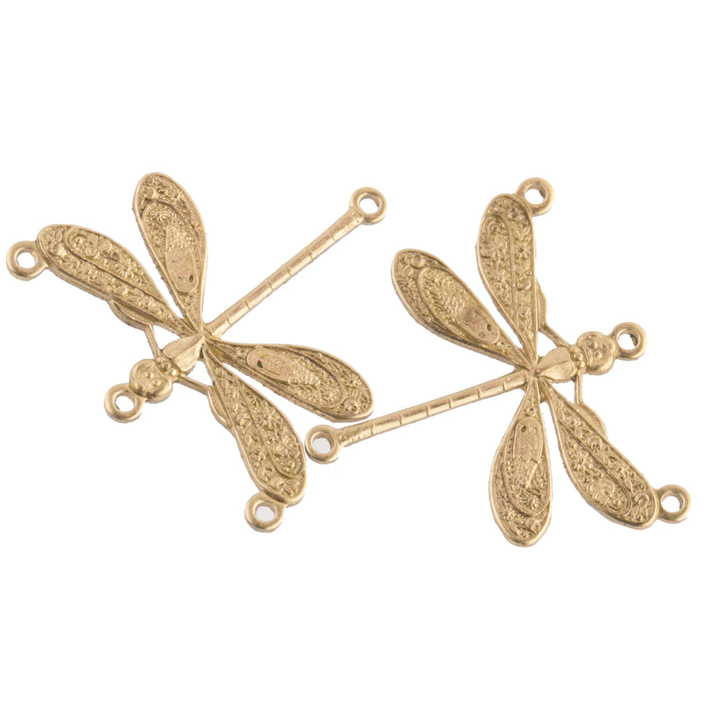 Fancy embossed dragonfly connector. 24mm Pkg. of 4. b9-0620a