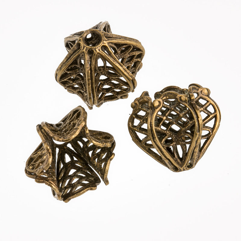 Oxidized Brass Filigree Fluted Basket Beadcap. 11mm with 8mm opening. Package of 2. b9-0621 b9-0621