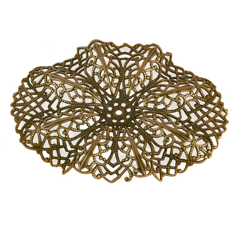 Dapped brass filigree pendant with center setting. 75x55m Pkg. of 1. b9-0622(e)