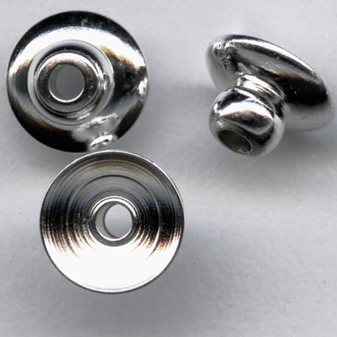 Silver plated beadcap with 3mm bead end. Pkg. of 20. b9-0625A(e)