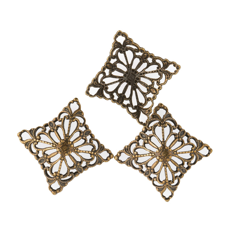 Oxidized Brass Filigree Domed Square Connector. 20mm diagonal width. Package of 2. b9-0626-1