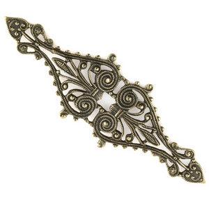 Vintage brass filigree diamond. Great for wrapping. 68x22mm. Pkg. of 1. b9-0635(e)