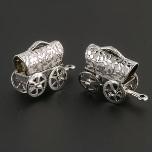 Vintage covered wagon charm. Sterling silver plated steel.  Pkg. of 1. b9-0675-1