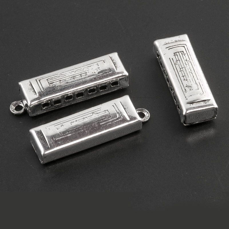Vintage silver plated  harmonica charm. 25x8mm Pkg. of 1.  b9-0676