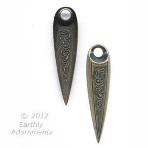 Stamped brass pointed drop. 48x12mm Pkg. of 2. b9-0714