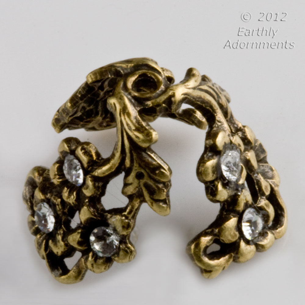 Fancy brass adjustable beadcap with stone settings. Pkg. of 2. b9-0723(e)