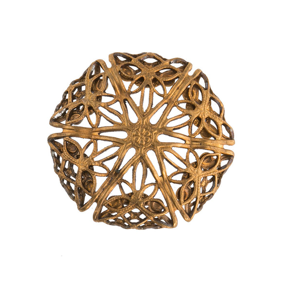 Brass filigree domed disk. Pkg. of 1. b9-0724(e)