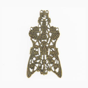 Vintage Edwardian style stamped antiqued brass filigree component. Great for wrapping stones. 50x25mm. Pkg. of 1. b9-0727
