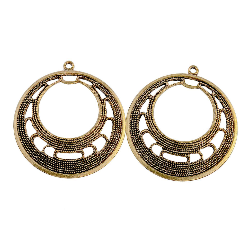 Vintage brass filigree hoop. 30mm. Pkg. of 2. b9-0736