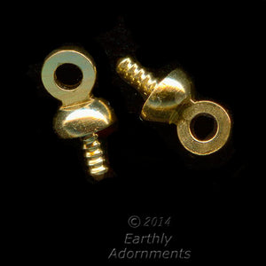 Brass 3mm cap with threaded peg for top drilled bead. Package of 10. b9-0764-1(e)