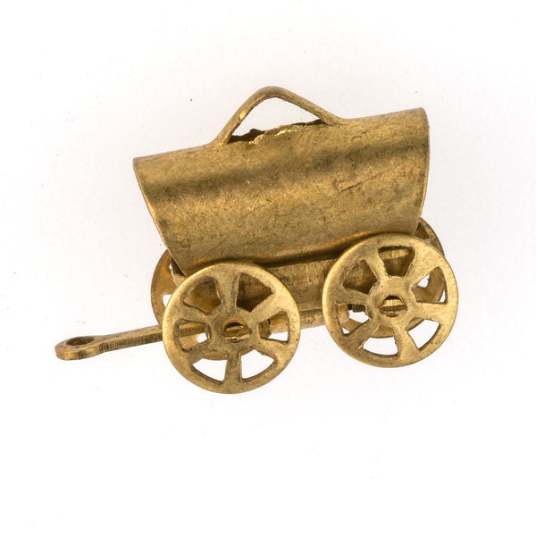 b9-0675-2-Vintage covered wagon charm in brass. 18x23mm. Pkg of 1