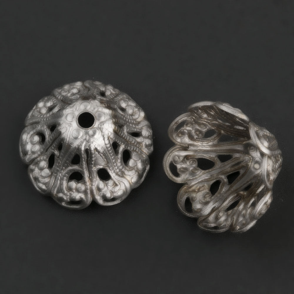 Vintage silver metal filigree bead cap. 19x10mm. Pkg. of 4. b9-0776(e)