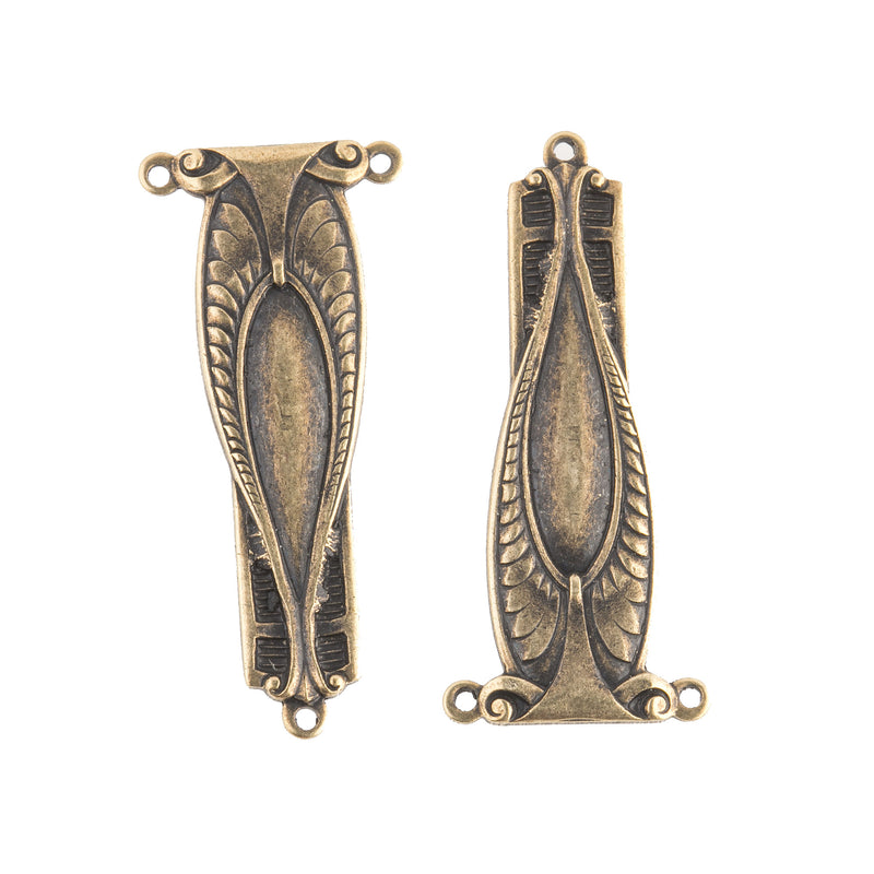 Victorian style oxidized brass connector/ pendant. 35mm. Pkg. 1. b9-0801