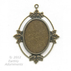 Oxidized brass solid back oval frame pendant setting for cabochon. 5 sizes. b9-0803