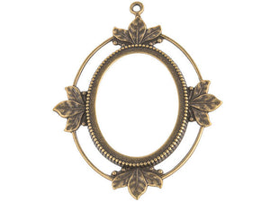 Oxidized brass open back oval frame pendant setting for cabochon. 5 sizes. b9-0804