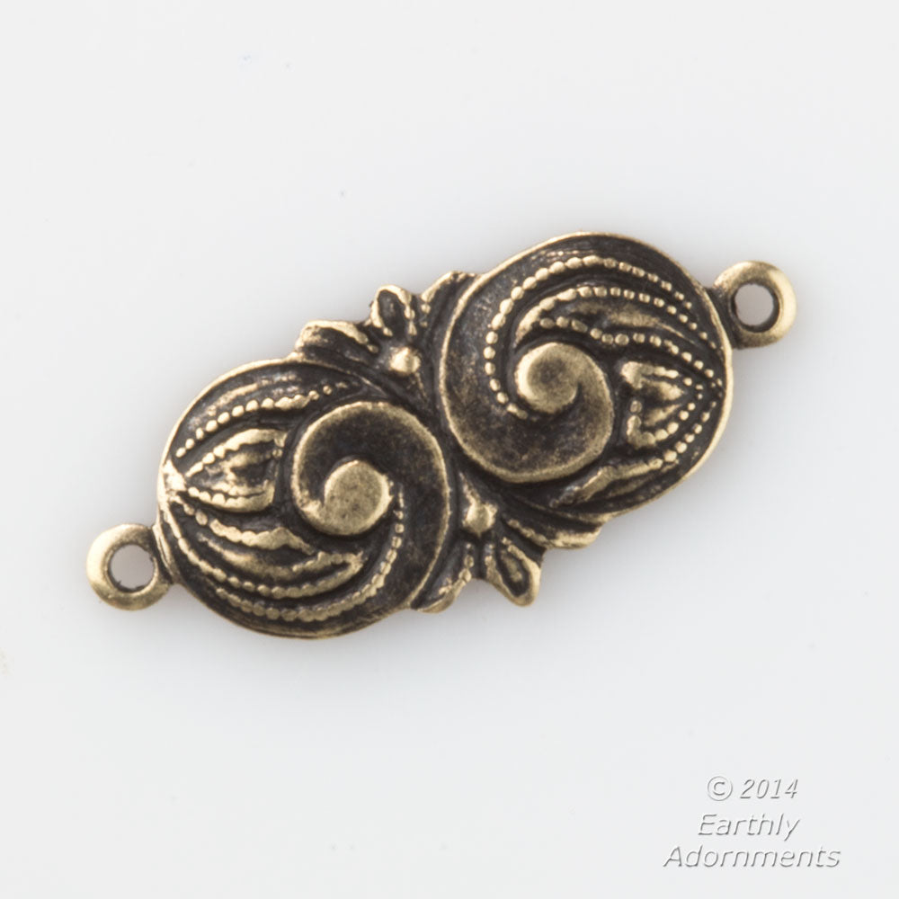 Oxidized stamped brass connectors in Art Nouveau style. 16mm length. Pkg. of 8. B9-0821