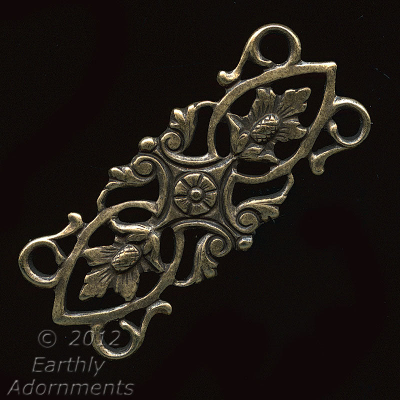 Oxidized Brass Stamped Filigree 4 ring connector 30x13mm Pkg. of 1. B9-0822(e)