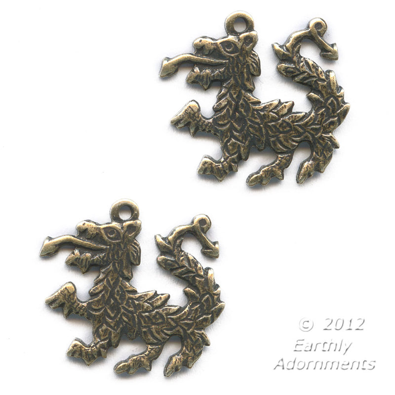 Oxidized stamped brass Chinese dragon charm. 14x15mm Pkg. of 2. b9-0824(e)