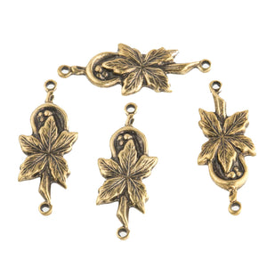 Solid brass connector in floral leaf design. 22mm Pkg. of 8. b9-0826