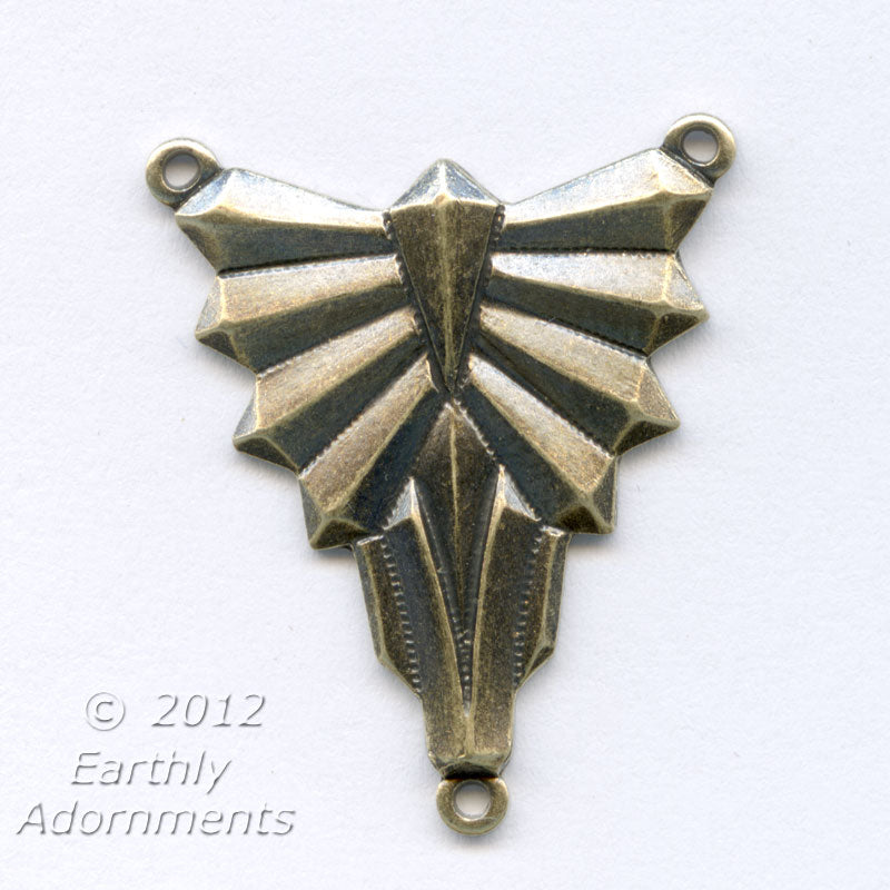 Art Deco style oxidized brass connector. 20x25mm Pkg. of 1. B9-0833