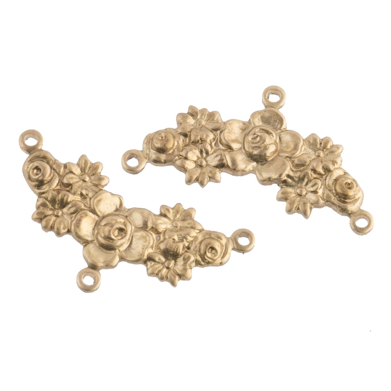 Stamped raw yellow brass 3 ring connector in floral garland motif. 26mm x 10mm. Pkg. of 2. b9-0834-g