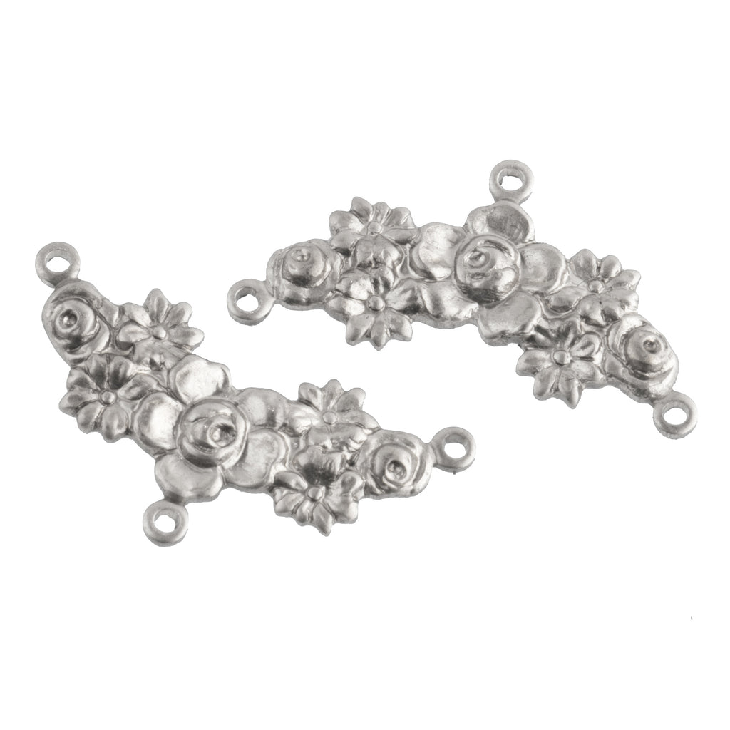 Sterling silver plated stamped brass 3 ring connector in floral garland motif. 26mm x 10mm. Pkg. of 2. b9-0834-s