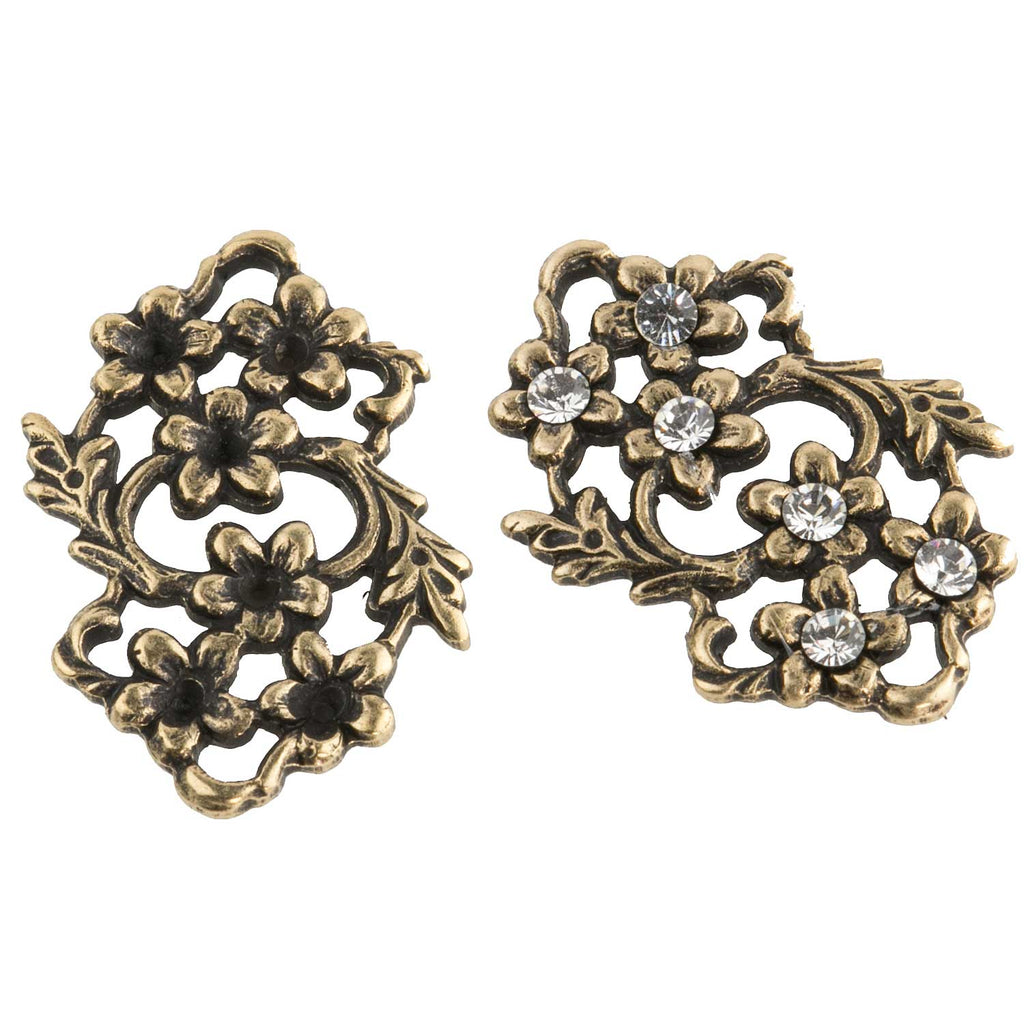 Floral brass connector with stone settings. 14x18mm Pkg of 4. B9-0835(e)