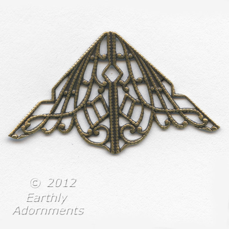 Raw stamped brass filigree triangle 32mm x 32mm x 39mm Pkg. of 1. B9-0837(e)