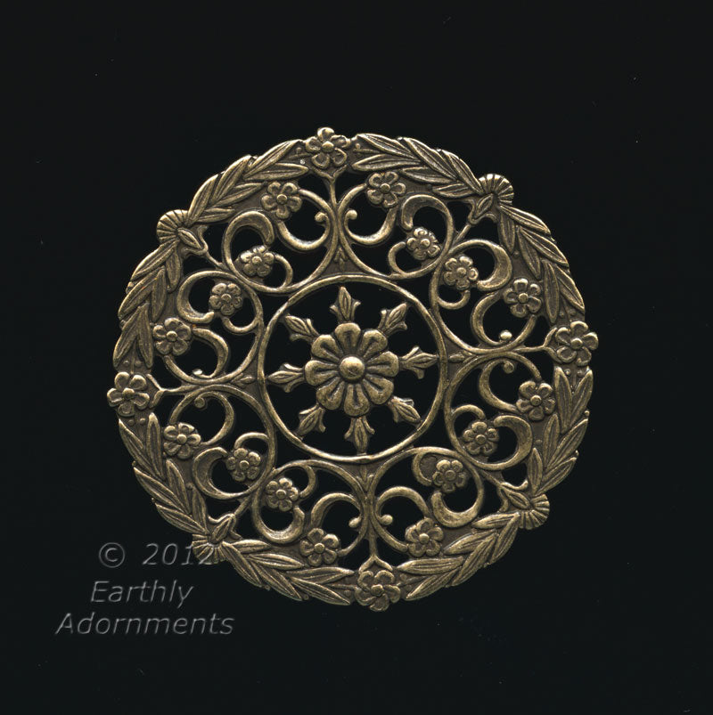 Oxidized stamped filigree round disk, 35mm, Pkg. of 1. B9-0839