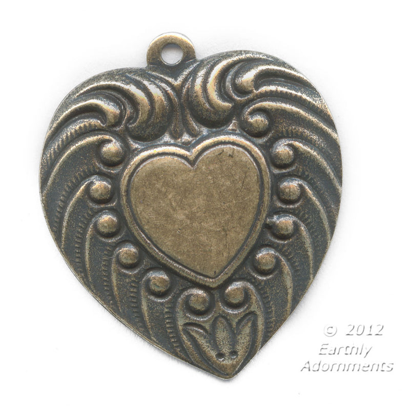 Brass Victorian heart stamping. 15mm Pkg. of 1. b9-0840(e)