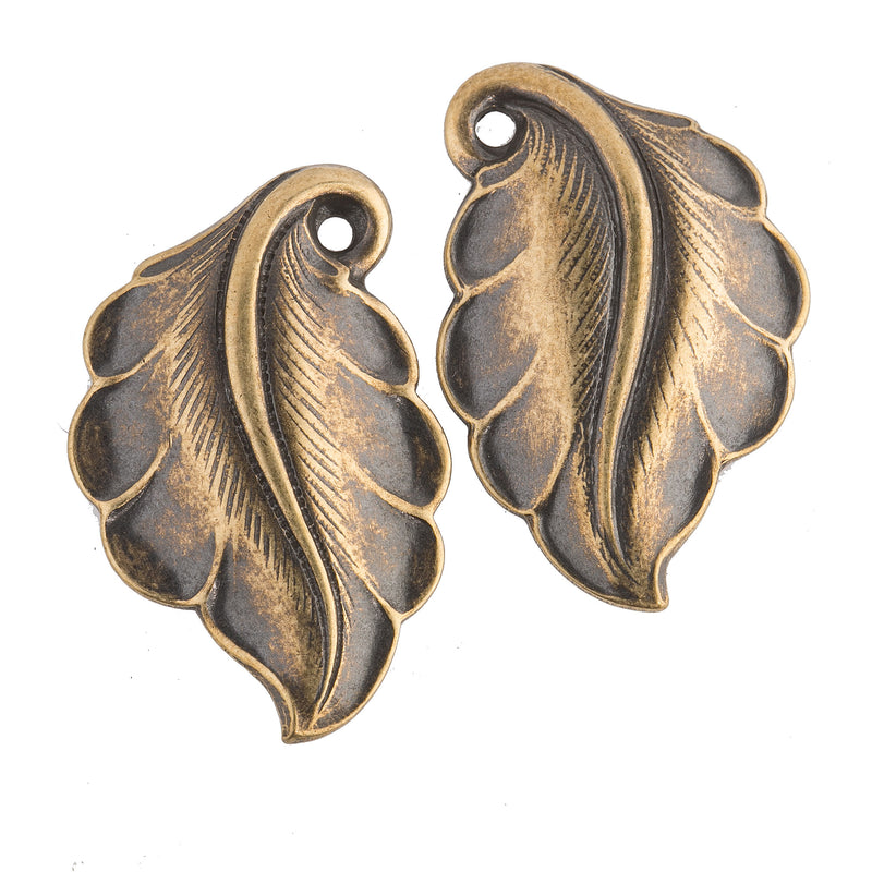 Vintage Stamped Brass Leaf Pendant. 20x33mm. Sold in Pairs. One left-facing and one right facing. b9-0850