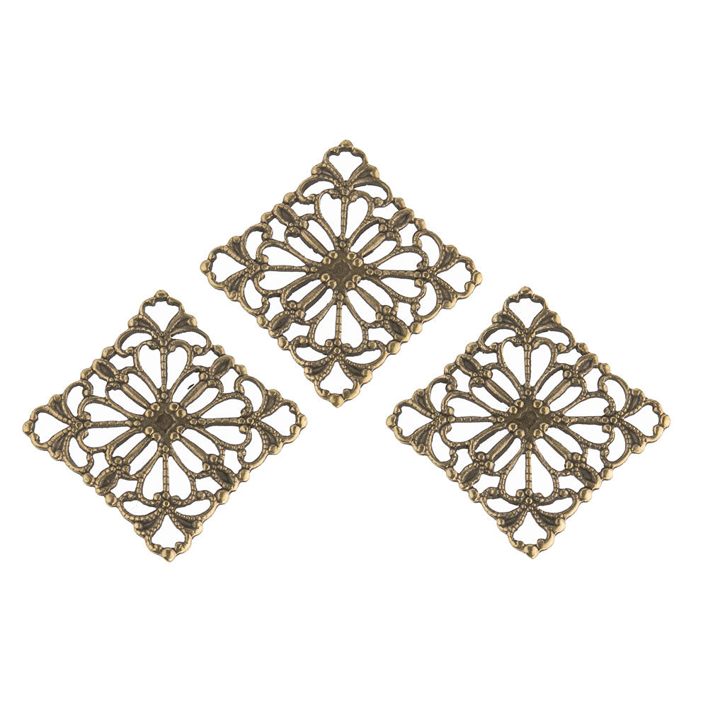 Fancy brass filigree square. 15mm across. 25mm diagonal. Pkg. of 6. b9-0851