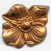 b9-0864-Vintage stamped copper dogwood blossom. Pkg. of 2