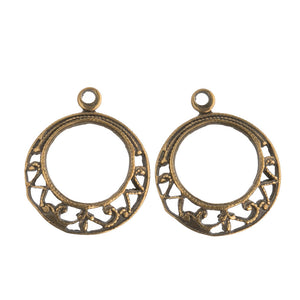 Vintage brass filigree hoop. 12mm Pkg. of 4. b9-0867(e)