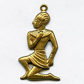 Egyptian revival stamped brass charm 30x18mm 2 pcs. B9-0876(e)